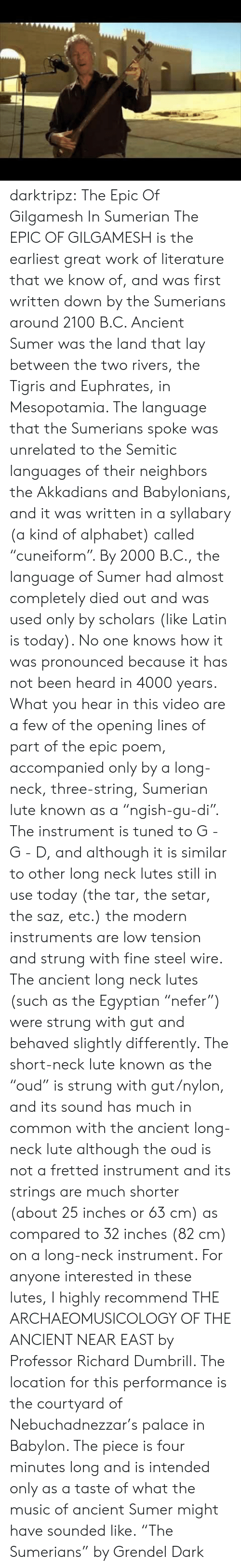 """Music, Tumblr, and Work: darktripz:  The Epic Of Gilgamesh In Sumerian  The EPIC OF GILGAMESH is the earliest great work of literature that we know of, and was first written down by the Sumerians around 2100 B.C.   Ancient Sumer was the land that lay between the two rivers, the Tigris and Euphrates, in Mesopotamia. The language that the Sumerians spoke was unrelated to the Semitic languages of their neighbors the Akkadians and Babylonians, and it was written in a syllabary (a kind of alphabet) called """"cuneiform"""". By 2000 B.C., the language of Sumer had almost completely died out and was used only by scholars (like Latin is today). No one knows how it was pronounced because it has not been heard in 4000 years.  What you hear in this video are a few of the opening lines of part of the epic poem, accompanied only by a long-neck, three-string, Sumerian lute known as a """"ngish-gu-di"""". The instrument is tuned to G - G - D, and although it is similar to other long neck lutes still in use today (the tar, the setar, the saz, etc.) the modern instruments are low tension and strung with fine steel wire. The ancient long neck lutes (such as the Egyptian """"nefer"""") were strung with gut and behaved slightly differently. The short-neck lute known as the """"oud"""" is strung with gut/nylon, and its sound has much in common with the ancient long-neck lute although the oud is not a fretted instrument and its strings are much shorter (about 25 inches or 63 cm) as compared to 32 inches (82 cm) on a long-neck instrument.   For anyone interested in these lutes, I highly recommend THE ARCHAEOMUSICOLOGY OF THE ANCIENT NEAR EAST by Professor Richard Dumbrill.   The location for this performance is the courtyard of Nebuchadnezzar's palace in Babylon. The piece is four minutes long and is intended only as a taste of what the music of ancient Sumer might have sounded like.  """"The Sumerians"""" by Grendel Dark"""