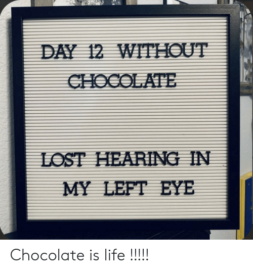 Life, Lost, and Chocolate: DAY 12 WITHOUT  CHOCOLATE  LOST HEARING IN  MY LEFT EYE Chocolate is life !!!!!