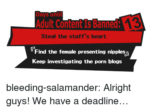Target, Tumblr, and Blog: Days until  Adult Content Is Banned:  Steal the staff's heart  Find the female presenting nipples  Keep investigating the porn blogs bleeding-salamander: Alright guys! We have a deadline…