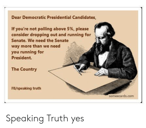 democratic: Dear Democratic Presidential Candidates  If you're not polling above 5%, please  consider dropping out and running for  Senate. We need the Senate  way more than we need  you running for  President.  The Country  FB/speaking truth  someecards.com Speaking Truth yes