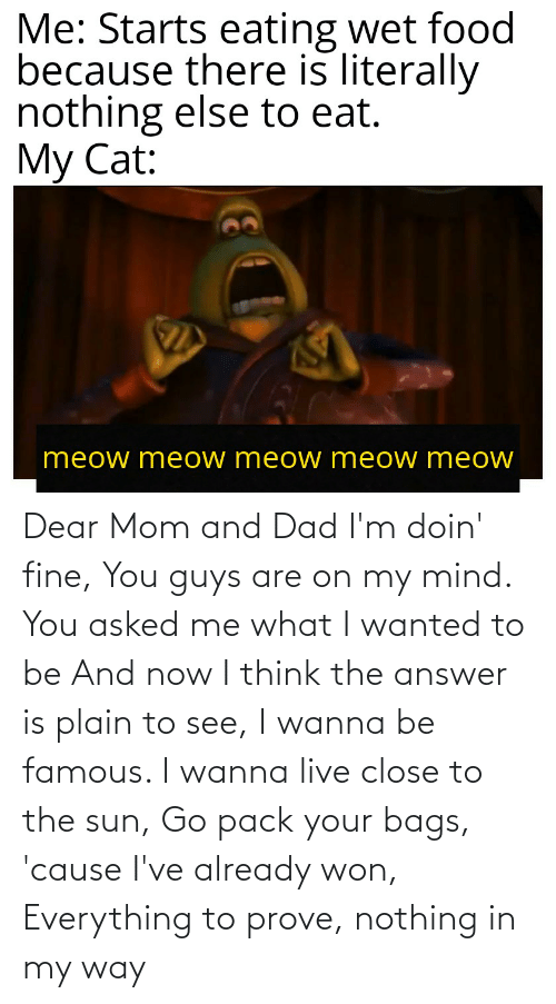 The Answer: Dear Mom and Dad I'm doin' fine, You guys are on my mind. You asked me what I wanted to be And now I think the answer is plain to see, I wanna be famous. I wanna live close to the sun, Go pack your bags, 'cause I've already won, Everything to prove, nothing in my way