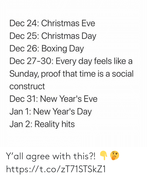 Christmas: Dec 24: Christmas Eve  Dec 25: Christmas Day  Dec 26: Boxing Day  Dec 27-30: Every day feels like a  Sunday, proof that time is a social  construct  Dec 31: New Year's Eve  Jan 1: New Year's Day  Jan 2: Reality hits Y'all agree with this?! 👇🤔 https://t.co/zT71STSkZ1