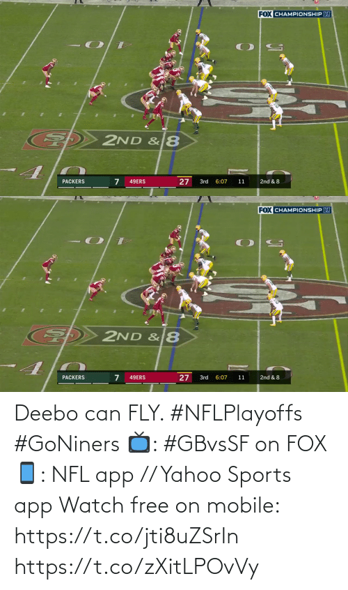 app: Deebo can FLY. #NFLPlayoffs #GoNiners  📺: #GBvsSF on FOX 📱: NFL app // Yahoo Sports app Watch free on mobile: https://t.co/jti8uZSrIn https://t.co/zXitLPOvVy
