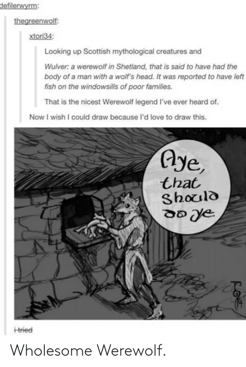 Now I: defilerwyrm:  thegreenwolf:  xtori34:  Looking up Scottish mythological creatures and  Wulver: a werewolf in Shetland, that is said to have had the  body of a man with a wolf's head. It was reported to have left  fish on the windowsills of poor families.  That is the nicest Werewolf legend l've ever heard of.  Now I wish I could draw because l'd love to draw this.  Aye,  that  Should  Hried Wholesome Werewolf.