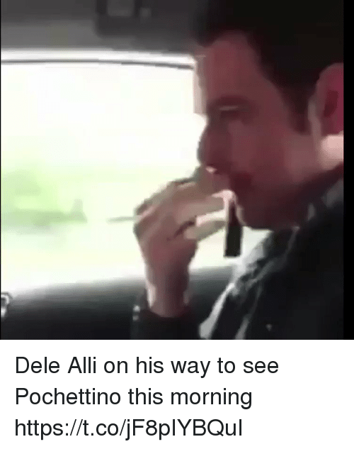 Soccer, This, and Morning: Dele Alli on his way to see Pochettino this morning https://t.co/jF8pIYBQuI
