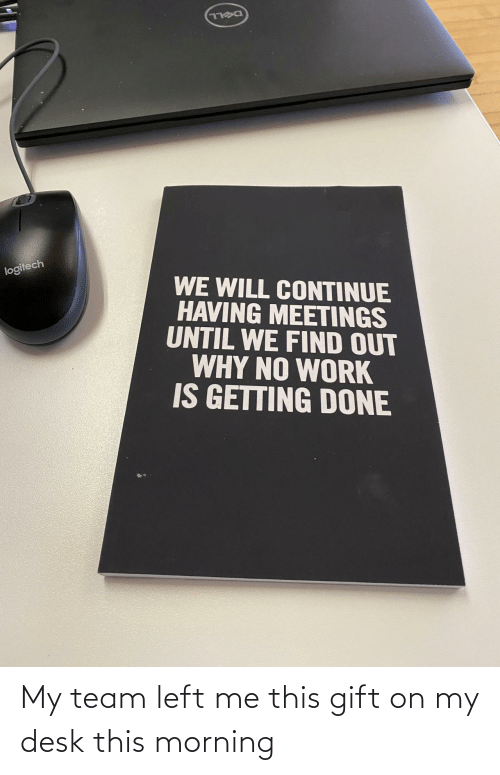 morning: DELL  logitech  WE WILL CONTINUE  HAVING MEETINGS  UNTIL WE FIND OUT  WHY NO WORK  IS GETTING DONE My team left me this gift on my desk this morning