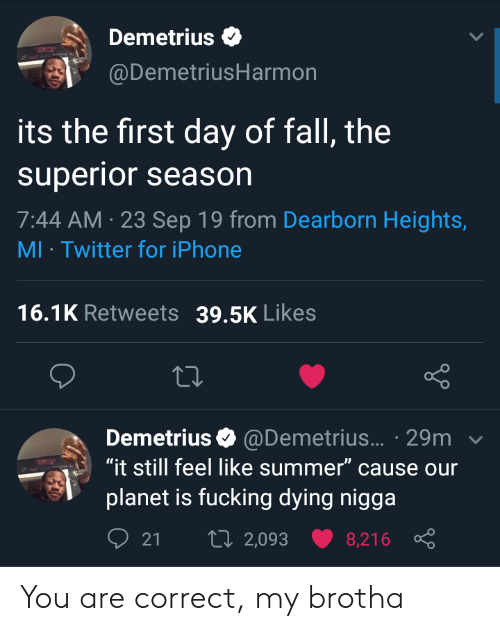"""Season 7: Demetrius  @DemetriusHarmon  its the first day of fall, the  superior season  7:44 AM 23 Sep 19 from Dearborn Heights,  MI Twitter for iPhone  16.1K Retweets  39.5K Likes  Demetrius @Demetrius... 29m  """"it still feel like summer"""" cause our  planet is fucking dying nigga  t 2,093  21  8,216 You are correct, my brotha"""