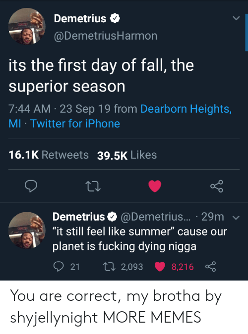 """Season 7: Demetrius  @DemetriusHarmon  its the first day of fall, the  superior season  7:44 AM 23 Sep 19 from Dearborn Heights,  MI Twitter for iPhone  16.1K Retweets  39.5K Likes  Demetrius @Demetrius... 29m  """"it still feel like summer"""" cause our  planet is fucking dying nigga  t 2,093  21  8,216 You are correct, my brotha by shyjellynight MORE MEMES"""