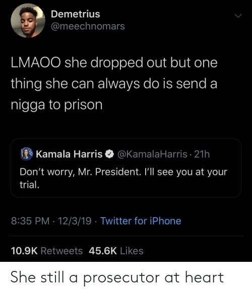 harris: Demetrius  @meechnomars  LMAOO she dropped out but one  thing she can always do is send a  nigga to prison  Kamala Harris O @KamalaHarris · 21h  Don't worry, Mr. President. I'll see you at your  trial.  8:35 PM · 12/3/19 · Twitter for iPhone  10.9K Retweets 45.6K Likes She still a prosecutor at heart
