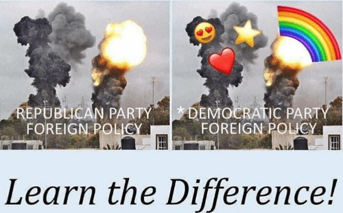 democratic: DEMOCRATIC PARTY  FOREIGN POLICY  REPUBLICAN PARTY  FOREIGN POLICY  Learn the Difference!