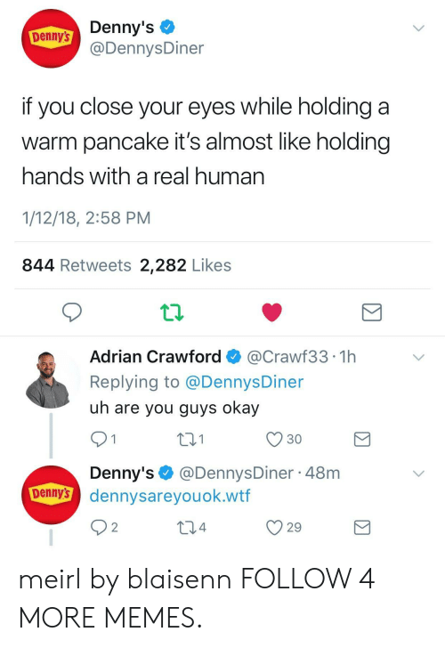 Dank, Denny's, and Memes: Denny's  @DennysDiner  Denny's  if you close your eyes while holding  warm pancake it's almost like holding  hands with a real human  1/12/18, 2:58 PM  844 Retweets 2,282 Likes  Adrian Crawford  @Crawf33 1h  Replying to @Dennys Diner  uh are you guys okay  2.1  30  1  Denny's@DennysDiner 48m  Denny's dennysareyou ok.wtf  2  2.4  29 meirl by blaisenn FOLLOW 4 MORE MEMES.