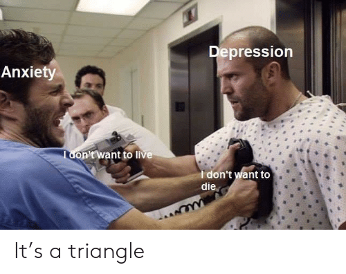 Depression Anxiety: Depression  Anxiety  Tdon'twant to live  Idon't want to  die  we It's a triangle