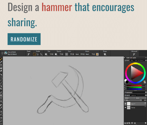 Layers: Design a hammer that encourages  sharing.  RANDOMIZE  Opacity  Advanced  Racat  Stroka  Cize  Grain  Madia  Shape  Pens and Penciis  7%T  Real 2B Pencl  509T  65%  Rocat  Eloadt  Color ard Layers  Color Mia Calor Sct Librarik  0  Harmonies  Layers Channels  Default  lqnare  T00  4 Luy 1  Lanvac