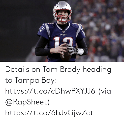 via: Details on Tom Brady heading to Tampa Bay: https://t.co/cDhwPXYJJ6 (via @RapSheet) https://t.co/6bJvGjwZct