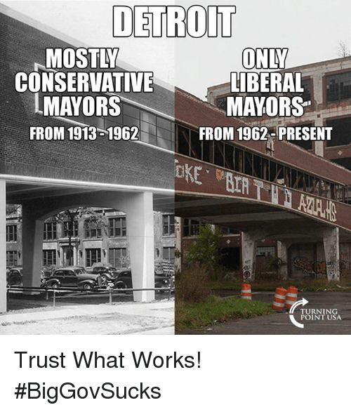 Detroit, Memes, and Conservative: DETROIT  MOSTLY  CONSERVATIVE  IMAYORS  FROM 1913 1962  ONY  LİBERAL  MAYORS  FROM 1962- PRESENT  TURNING  POINT USA Trust What Works! #BigGovSucks