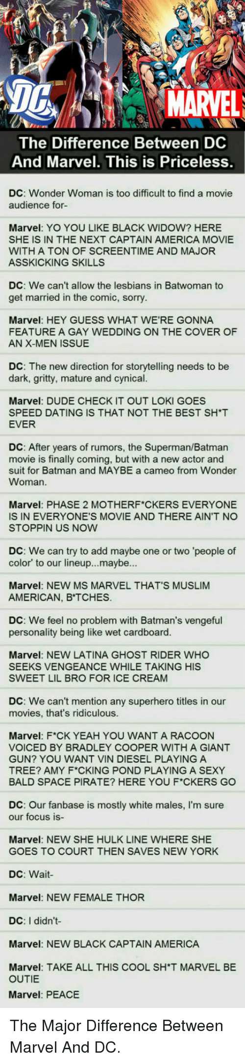America, Batman, and Dating: DG  MARVEL  The Difference Between DC  And Marvel. This is Priceless  DC: Wonder Woman is too difficult to find a movie  audience for-  Marvel: YO YOU LIKE BLACK WIDOW? HERE  SHE IS IN THE NEXT CAPTAIN AMERICA MOVIE  WITH A TON OF SCREENTIME AND MAJOR  ASSKICKING SKILLS  DC: We can't allow the lesbians in Batwoman to  get married in the comic, sorry  Marvel: HEY GUESS WHAT WE'RE GONNA  FEATURE A GAY WEDDING ON THE COVER OF  AN X-MEN ISSUE  DC: The new direction for storytelling needs to be  dark, gritty, mature and cynical.  ES  Marvel: DUDE CHECK IT OUT LOKI GO  SPEED DATING IS THAT NOT THE BEST SH*T  EVER  DC: After years of rumors, the Superman/Batman  movie is finally coming, but with a new actor and  suit for Batman and MAYBE a cameo from Wonder  Woman.  Marvel: PHASE 2 MOTHERF CKERS EVERYONE  IS IN EVERYONE'S MOVIE AND THERE AIN'T NO  STOPPIN US NOW  DC: We can try to add maybe one or two 'people of  color' to our lineup...maybe...  Marvel: NEW MS MARVEL THAT'S MUSLIM  AMERICAN, B TCHES.  DC: We feel no problem with Batman's vengeful  personality being like wet cardboard.  Marvel: NEW LATINA GHOST RIDER WHO  SEEKS VENGEANCE WHILE TAKING HIS  SWEET LIL BRO FOR ICE CREAM  DC: We can't mention any superhero titles in our  movies, that's ridiculous  Marvel: F*CK YEAH YOU WANT A RACOON  VOICED BY BRADLEY COOPER WITH A GIANT  GUN? YOU WANT VIN DIESEL PLAYING A  TREE? AMY F CKING POND PLAYING A SEXY  BALD SPACE PIRATE? HERE YOU F*CKERS GO  DC: Our fanbase is mostly white males, I'm sure  our focus is-  Marvel: NEW SHE HULK LINE WHERE SHE  GOES TO COURT THEN SAVES NEW YORK  DC: Wait  Marvel: NEW FEMALE THOR  DC: I didn't  Marvel: NEW BLACK CAPTAIN AMERICA  Marvel: TAKE ALL THIS COOL SH'T MARVEL BE  OUTIE  Marvel: PEACE <p>The Major Difference Between Marvel And DC.</p>