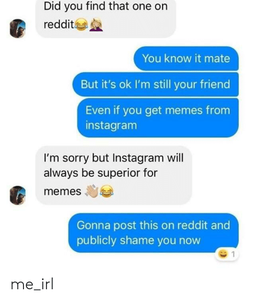 Instagram, Memes, and Reddit: Did you find that one on  reddit  You know it mate  But it's ok I'm still your friend  Even if you get memes from  instagram  I'm sorry but Instagram will  always be superior for  memes  Gonna post this on reddit and  publicly shame you now me_irl
