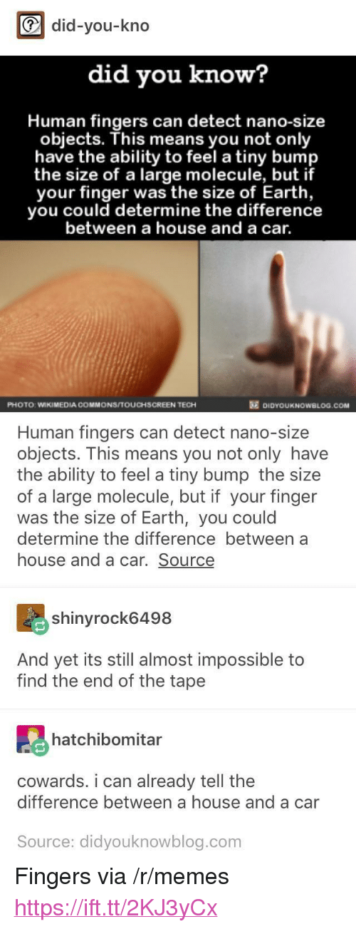 """commons: did-you-kno  did you know?  Human fingers can detect nano-size  objects. This means you not only  have the ability to feel a tiny bump  the size of a large molecule, but if  your finger was the size of Earth,  you could determine the difference  between a house and a car.  PHOTO: WIKIMEDIA COMMONS/TOUCHSCREEN TECH  DIDYOUKNOWBLOG.COM  Human fingers can detect nano-size  objects. This means you not only have  the ability to feel a tiny bump the size  of a large molecule, but if your finger  was the size of Earth, you could  determine the difference between a  house and a car. Source  shinyrock6498  And yet its still almost impossible to  find the end of the tape  hatchibomitar  cowards. i can already tell the  difference between a house and a car  Source: didyouknowblog.com <p>Fingers via /r/memes <a href=""""https://ift.tt/2KJ3yCx"""">https://ift.tt/2KJ3yCx</a></p>"""