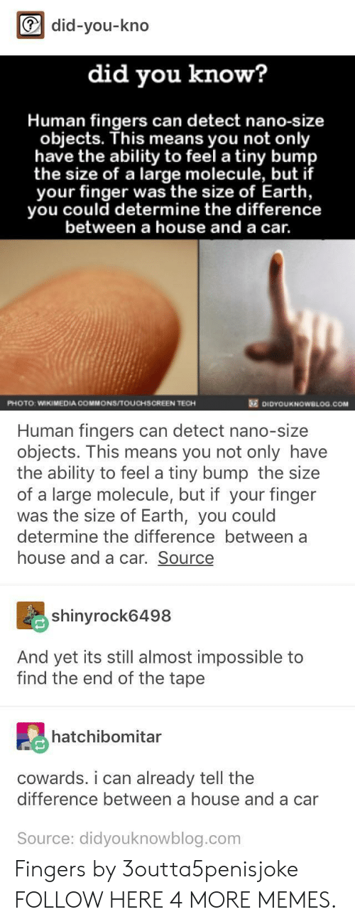 commons: did-you-kno  did you know?  Human fingers can detect nano-size  objects. This means you not only  have the ability to feel a tiny bump  the size of a large molecule, but if  your finger was the size of Earth,  you could determine the difference  between a house and a car.  PHOTO: WIKIMEDIA COMMONS/TOUCHSCREEN TECH  DIDYOUKNOWBLOG.COM  Human fingers can detect nano-size  objects. This means you not only have  the ability to feel a tiny bump the size  of a large molecule, but if your finger  was the size of Earth, you could  determine the difference between a  house and a car. Source  shinyrock6498  And yet its still almost impossible to  find the end of the tape  hatchibomitar  cowards. i can already tell the  difference between a house and a car  Source: didyouknowblog.com Fingers by 3outta5penisjoke FOLLOW HERE 4 MORE MEMES.