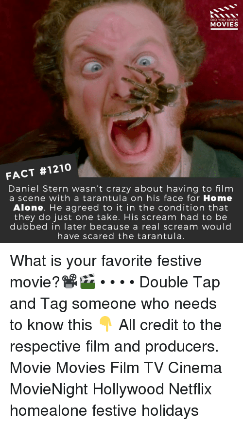 Being Alone, Crazy, and Home Alone: DID YOU KNOW  MOVIES  FACT #1210  Daniel Stern wasn't crazy about having to film  a scene with a tarantula on his face for Home  Alone. He agreed to it in the condition that  they do just one take. His scream had to be  dubbed in later because a real scream would  have scared the tarantula. What is your favorite festive movie?📽️🎬 • • • • Double Tap and Tag someone who needs to know this 👇 All credit to the respective film and producers. Movie Movies Film TV Cinema MovieNight Hollywood Netflix homealone festive holidays