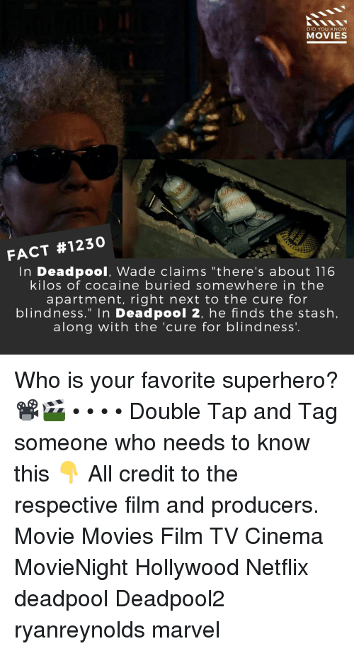 """Memes, Movies, and Netflix: DID YOU KNow  MOVIES  FACT #1230  In Deadpool, Wade claims """"there's about 116  kilos of cocaine buried somewhere in the  apartment, right next to the cure for  blindness."""" In Deadpool 2, he finds the stash,  along with the 'cure for blindness'. Who is your favorite superhero?📽️🎬 • • • • Double Tap and Tag someone who needs to know this 👇 All credit to the respective film and producers. Movie Movies Film TV Cinema MovieNight Hollywood Netflix deadpool Deadpool2 ryanreynolds marvel"""
