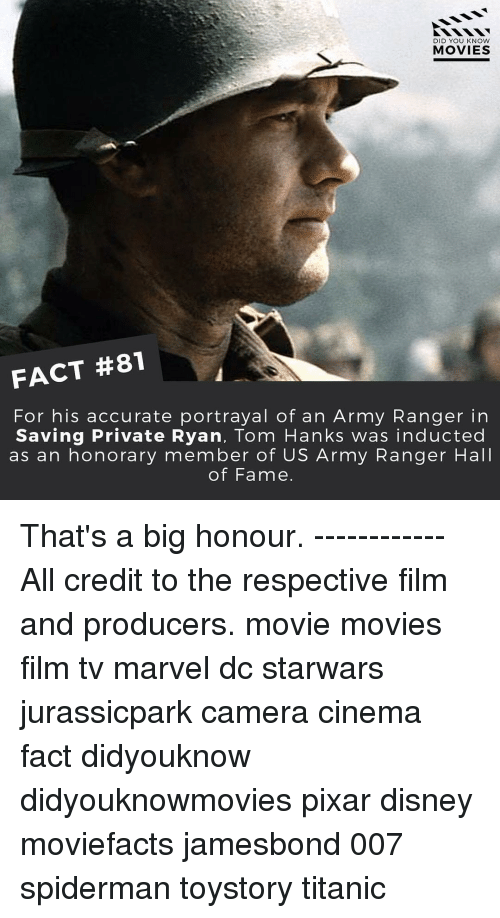 Tom Hank: DID YOU KNOW  MOVIES  FACT #81  For his accurate portrayal of an Army Ranger in  Saving Private Ryan, Tom Hanks was inducted  as an honorary member of US Army Ranger Hall  of Fame. That's a big honour. ------------ All credit to the respective film and producers. movie movies film tv marvel dc starwars jurassicpark camera cinema fact didyouknow didyouknowmovies pixar disney moviefacts jamesbond 007 spiderman toystory titanic