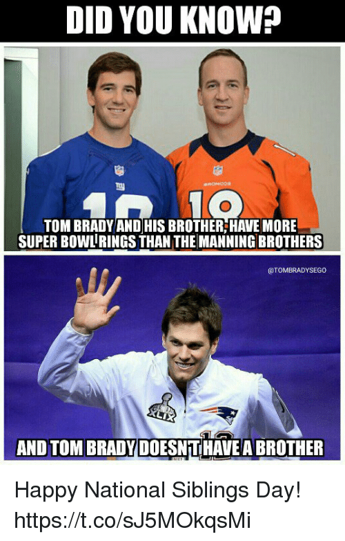 Super Bowl, Tom Brady, and Happy: DID YOU KNOW?  TOM BRADY AND HIS BROTHER,HAVE MORE  SUPER BOWL RINGS THAN THE MANNING BROTHERS  @TOMBRADYSEGO  AND TOM BRADY DOESNTHAVE A BROTHER Happy National Siblings Day! https://t.co/sJ5MOkqsMi