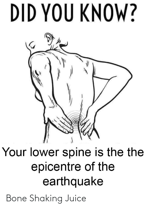 Know Your: DID YOU KNOW?  Your lower spine is the the  epicentre of the  earthquake Bone Shaking Juice