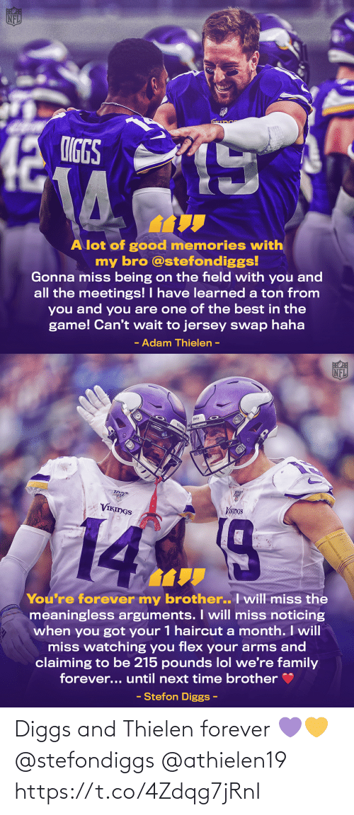 Forever: Diggs and Thielen forever 💜💛 @stefondiggs @athielen19 https://t.co/4Zdqg7jRnI