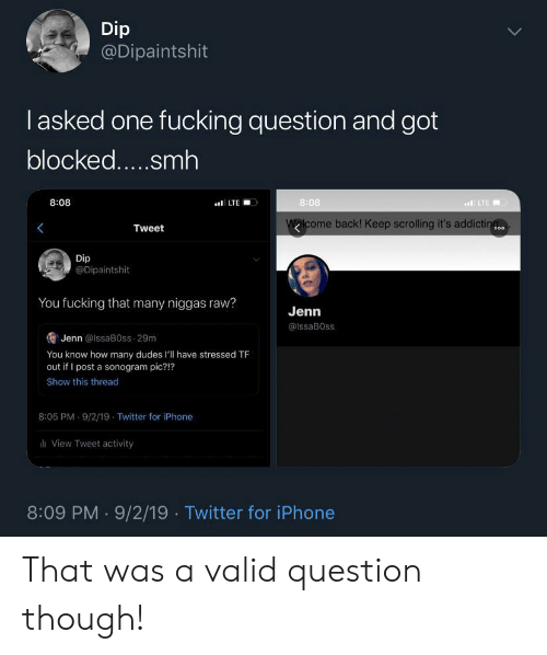 Fucking, Iphone, and Smh: Dip  @Dipaintshit  lasked one fucking question and got  blocked.....smh  8:08  8:08  LTE  LTE  Walcome back! Keep scrolling it's addictin  Tweet  o00  Dip  @Dipaintshit  You fucking that many niggas raw?  Jenn  @IssaB0ss  Jenn @lssaB0ss 29m  You know how many dudes l'll have stressed TF  out if I post a sonogram pic?!?  Show this thread  8:05 PM 9/2/19 Twitter for iPhone  View Tweet activity  8:09 PM 9/2/19 Twitter for iPhone That was a valid question though!