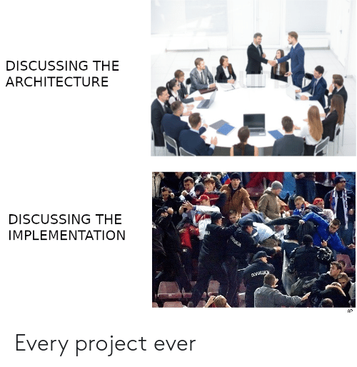 Project, Architecture, and Discussing: DISCUSSING THE  ARCHITECTURE  DISCUSSING THE  IMPLEMENTATION  AP Every project ever
