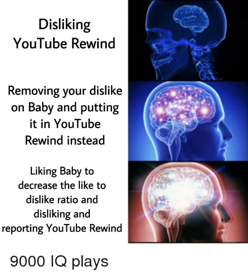 Reddit, youtube.com, and Baby: Disliking  YouTube Rewind  Removing your dislike  on Baby and putting  it in YouTube  Rewind instead  Liking Baby to  decrease the like to  dislike ratio and  disliking and  reporting YouTube Rewind