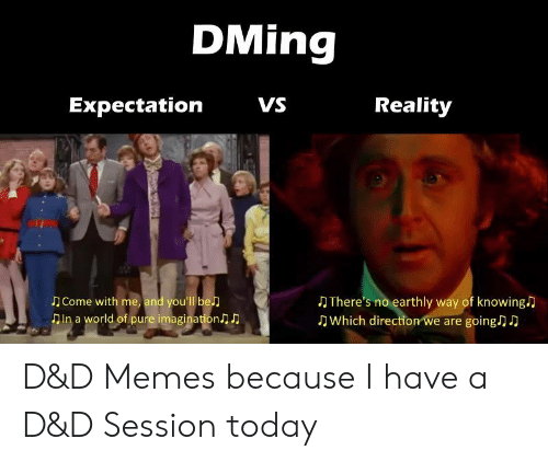 pure: DMing  VS  Reality  Expectation  Come with me, and you'll be  Din a world of pure imagination  There's no earthly way of knowing  Which direction we are going) D D&D Memes because I have a D&D Session today
