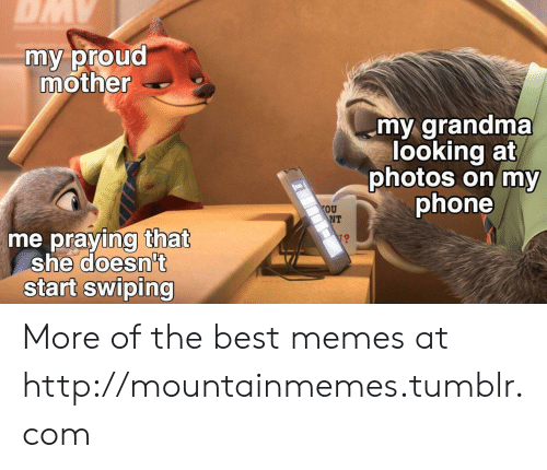 Grandma, Memes, and Phone: DMY  my proud  mother  my grandma  looking at  photos on my  phone  OU  NT  me praying that  she doesn't  start swiping More of the best memes at http://mountainmemes.tumblr.com