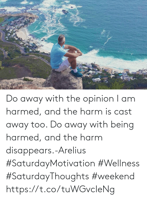Love for Quotes: Do away with the opinion I am  harmed, and the harm is cast away too. Do away with being harmed,  and the harm disappears.-Arelius  #SaturdayMotivation #Wellness  #SaturdayThoughts #weekend https://t.co/tuWGvcIeNg