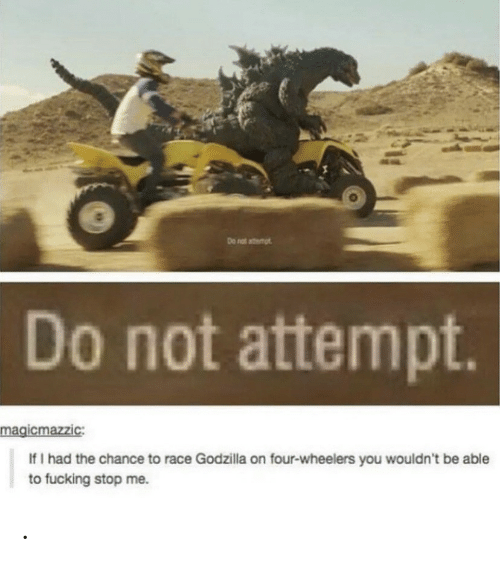 Fucking, Godzilla, and Race: Do nat atemt  Do not attempt.  magicmazzic:  If I had the chance to race Godzilla on four-wheelers you wouldn't be able  to fucking stop me. .