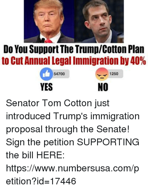 Senations: Do You SupportThe TrumplCotton Plan  to Cut Annual Legal Immigration by 40%  1250  54700  NO  YES Senator Tom Cotton just introduced Trump's immigration proposal through the Senate! Sign the petition SUPPORTING the bill HERE: https://www.numbersusa.com/petition?id=17446