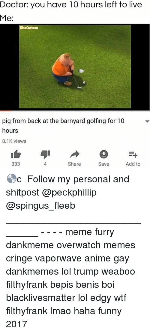 Anime, Black Lives Matter, and Doctor: Doctor:  you  have  10  hours  left  to  live  Me:  KissCartoon  pig from back at the barnyard golfing for 10  hours  8.1K views  4  Share  Save  Add to 💿c ★ Follow my personal and shitpost @peckphillip @spingus_fleeb _______________________________ - - - - meme furry dankmeme overwatch memes cringe vaporwave anime gay dankmemes lol trump weaboo filthyfrank bepis benis boi blacklivesmatter lol edgy wtf filthyfrank lmao haha funny 2017