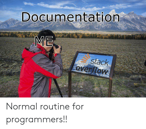 Stack, Stack Overflow, and Documentation: Documentation  ME  Shrlaklget Gaciens  stack  overflow Normal routine for programmers!!