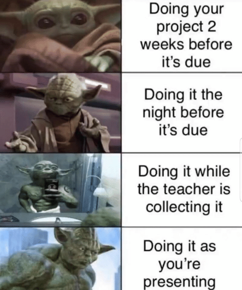 Doing It: Doing your  project 2  weeks before  it's due  Doing it the  night before  it's due  Doing it while  the teacher is  collecting it  Doing it as  you're  presenting