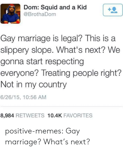 Marriage, Memes, and Tumblr: Dom: Squid and a Kid  @BrothaDom  Gay marriage is legal? This is a  slippery slope. What's next? We  gonna start respecting  everyone? Treating people right?  Not in my country  6/26/15, 10:56 AM  8,984 RETWEETS 10.4K FAVORITES positive-memes:  Gay marriage? What's next?