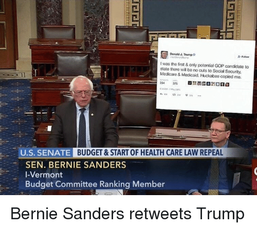 oldpeoplefacebook: Donald J. Trump  o  I was the first & only potential GOP candidate to  state there will be no cuts to Social Security,  Medicare & Medicaid. Huckabee copied me.  254  375  U.S. SENATE  BUDGET & START OF HEALTH CARE LAW REPEAL  SEN. BERNIE SANDERS  I-Vermont  Budget Committee Ranking Member Bernie Sanders retweets Trump