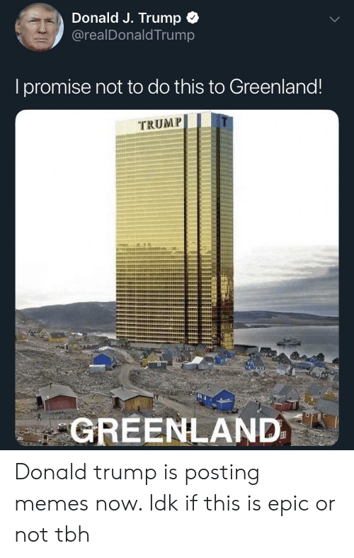 Donald Trump, Memes, and Tbh: Donald J. Trump  @realDonaldTrump  Ipromise not to do this to Greenland!  TRUMP  GREENLAND Donald trump is posting memes now. Idk if this is epic or not tbh