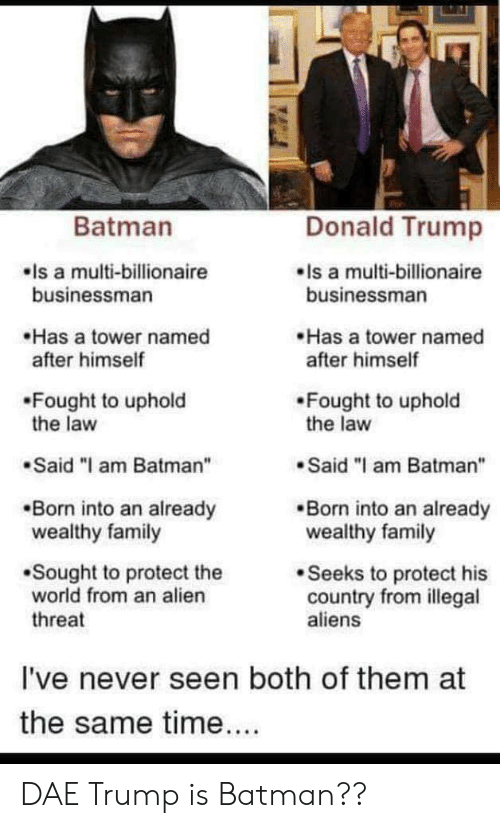 """Batman, Donald Trump, and Family: Donald Trump  Batman  Is a multi-billionaire  businessman  Is a multi-billionaire  businessman  Has a tower named  after himself  Has a tower named  after himself  Fought to uphold  the law  Fought to uphold  the law  Said """"I am Batman""""  Said """"I am Batman""""  Born into an already  wealthy family  Born into an already  wealthy family  Sought to protect the  world from an alien  Seeks to protect his  country from illegal  aliens  threat  I've never seen both of them at  the same time.... DAE Trump is Batman??"""