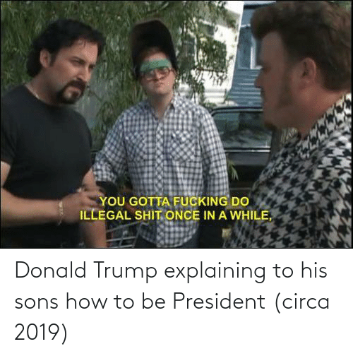 Donald Trump: Donald Trump explaining to his sons how to be President (circa 2019)