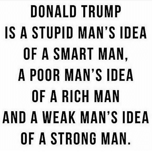 otae: DONALD TRUMP  IS A STUPID MAN'S IDEA  OF A SMART MAN.  A POOR MAN'S IDEA  OF A RICH MAN  AND A WEAK MAN'S IDEA  OF A STRONG MAN  D,A  PINE  IN  MSADNS  SAIA  NSA  UNM  SV  MAG  NM  RAT  TMR  RA  APSRAES  OTA  NU  OF  W  WA  DSFPOA  DO