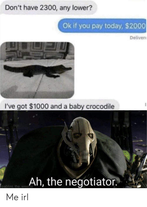 Today, Irl, and Me IRL: Don't have 2300, any lower?  Ok if you pay today, $2000  Deliver  I've got $1000 and a baby crocodile  Ah, the negotiator  pablini the weenie Me irl