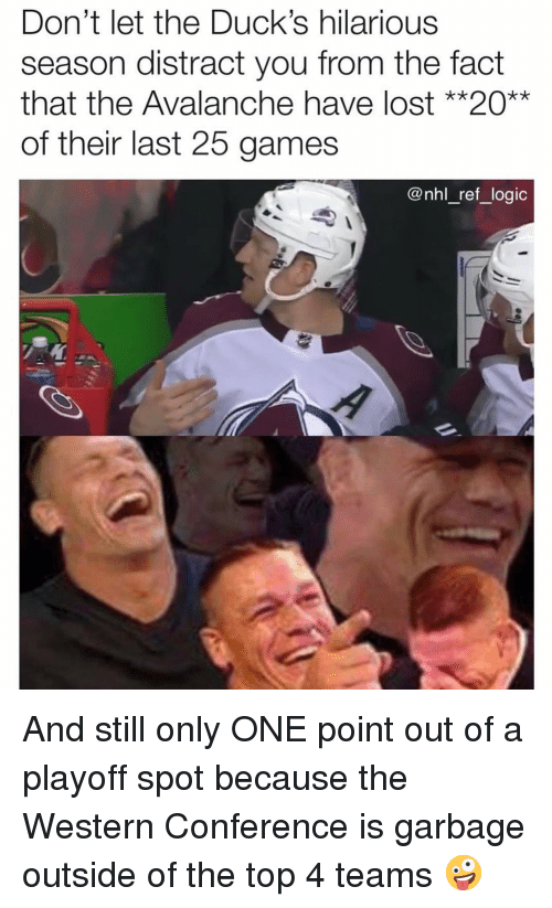Logic, Memes, and National Hockey League (NHL): Don't let the Duck's hilarious  season distract you from the fact  that the Avalanche have lost **20**  of their last 25 games  @nhl_ref_logic And still only ONE point out of a playoff spot because the Western Conference is garbage outside of the top 4 teams 🤪