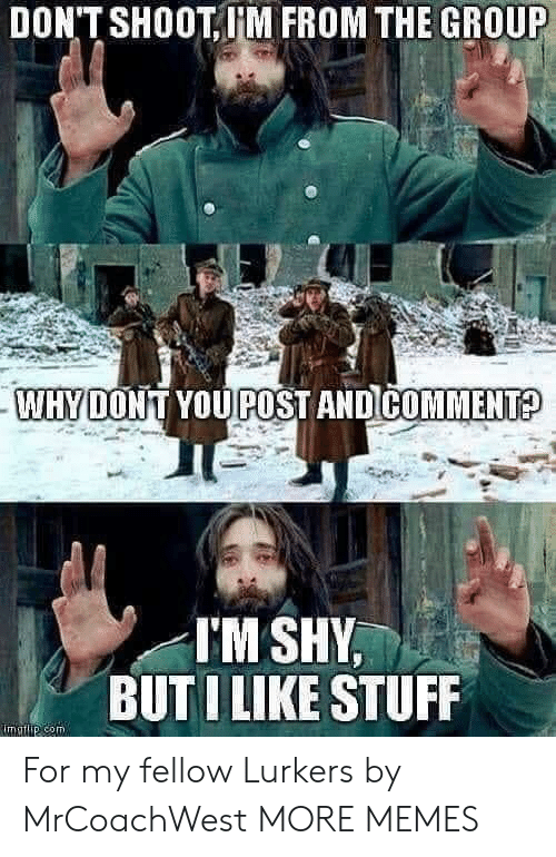 Dank, Memes, and Target: DON'T SHOOT,M FROM THE GROUP  WHYDONT YOUPOST AND COMMENT?  I'M SHY,  BUTI LIKE STUFF  matip com For my fellow Lurkers by MrCoachWest MORE MEMES