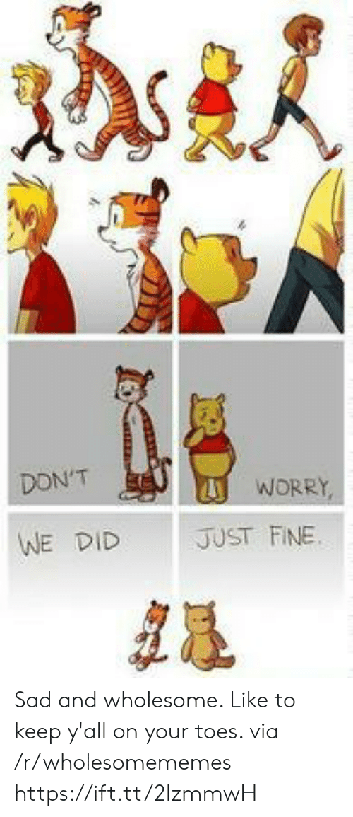 Wholesome: DON'T  WORRY,  JUST FINE  WE DID Sad and wholesome. Like to keep y'all on your toes. via /r/wholesomememes https://ift.tt/2lzmmwH